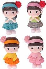 Rryilong 4pcs Jolie Fille Miniature Bonsai Paysage