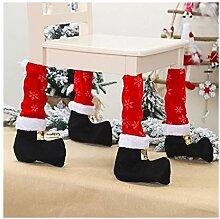 RSTJBH Lot de 4 couvre-pieds de chaise de Noël
