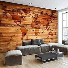 RTYUIHN 3d papier peint rétro carte du monde bois