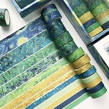 Ruban Washi multicolore, 12 pièces/boîte, ruban