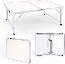 Rund Table De Camping Pliable en Aluminium Et MDF