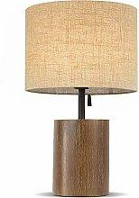 RUNWEI Lampe De Table Base en Bois Tissu Abat-Jour