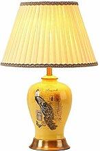 RUNWEI Lampe De Table en Tissu en Céramique avec