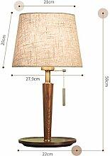 RUNWEI Lampe De Table Pied en Bois Tissu Abat-Jour