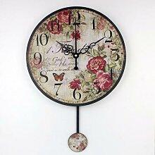 Saati-horloge murale décorative ronde vintage,
