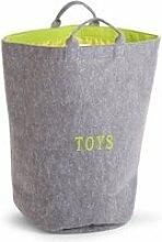 Sac à jouets rond feutre gris vert