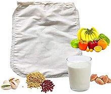 Sac filtre à lait de noix en coton bio et chanvre