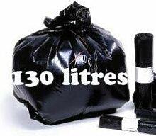 SAC POUBELLE NOIR HAUTE RESISTANCE 130 litres -