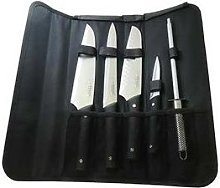 Sacoche 4 couteaux de cuisine et fusil à aiguiser