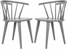Safavieh Chaise de table en hévéa gris (x2)