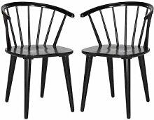 Safavieh Chaise de table en hévéa noir (x2)