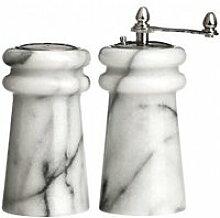 Salière et moulin à poivre en marbre blanc