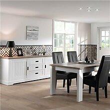 Salle à manger blanche et couleur bois ETHAN