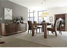 Salle à manger complète couleur bois et chrome