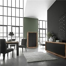 Salle à manger complète noire et couleur bois