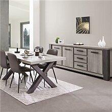 Salle à manger couleur bois gris table 160 MATHEIS