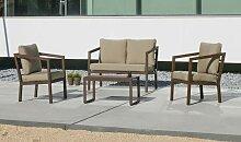 Salon bas de jardin aluminium marron - Flavio