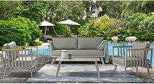 Salon bas de jardin en aluminium gris 5 places -