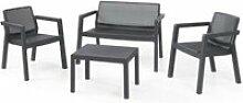 Salon bas de jardin - ensemble canape fauteuil et