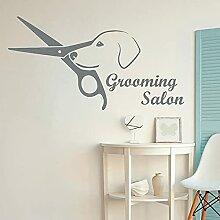 Salon de beauté Sticker Chien Ciseaux Logo Vinyle
