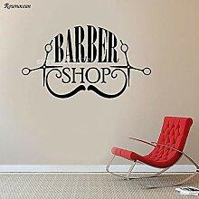 Salon de coiffure Sticker Ciseaux Moustache Motif