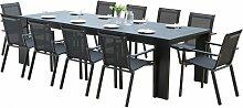 Salon de jardin 10 fauteuils aluminium noir - Ibiza