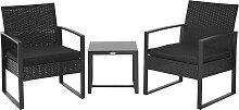 Salon de jardin 2 places avec table basse noir