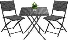 Salon de jardin 3 pièces polyrotin table et