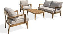 Salon de jardin 4 places en aluminium effet bois