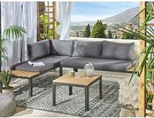 Salon de jardin 4 places en aluminium noir