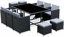 Salon de jardin 6-10 places - vabo - coloris noir.