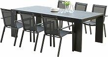 Salon de jardin 6 fauteuils aluminium noir - Ibiza