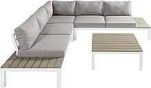 Salon de jardin 6 places gris clair et table basse