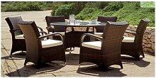 Salon de jardin à table ronde SET OREGON 6 places