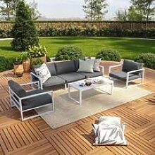 Salon de jardin aluminium 5 Places couleur blanc