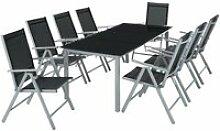 Salon de jardin aluminium 8 places gris clair