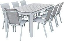 Salon de jardin aluminium blanc et textilène gris