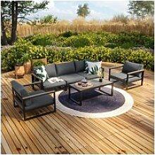 Salon de jardin aluminium et polywood 5 places