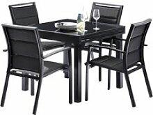 Salon de jardin aluminium noir 4/8 places 600007