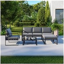 Salon de jardin angle design - 5 places - ensemble