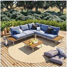 Salon de jardin angle en aluminium -design
