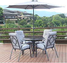 Salon de jardin avec 1 table ronde + 4 chaises + 1