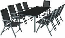 Salon de Jardin avec 8 Chaises Pliantes et 1 Table