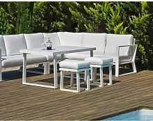 Salon de jardin avec sofa en aluminium Bolon blanc