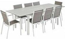 Salon de jardin - chicago blanc / taupe - table