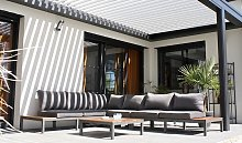 Salon de jardin d'angle aluminium et teck -