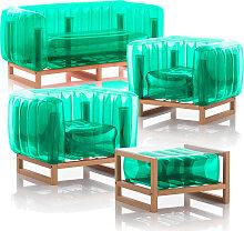 Salon de jardin design 1 canapé, 2 fauteuils et