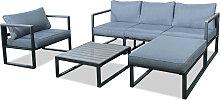 Salon de jardin design 5 places gris en aluminium