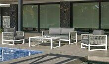 Salon de jardin design alu blanc et tissu tressé