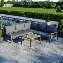 Salon de jardin design aluminium bois- Gris -